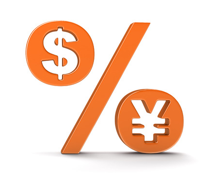 percentage sign: Percentage Sign with dollar and yen (clipping path included) Stock Photo