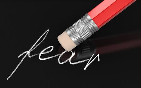 fear: Erase Fear (clipping path included) Stock Photo