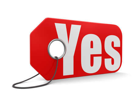 declaration of independence: Label yes (clipping path included) Stock Photo