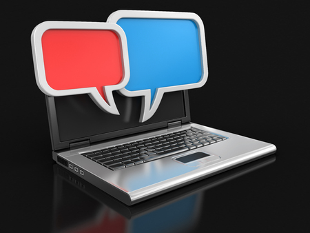 chat room: Laptop and speech bubbles  Stock Photo