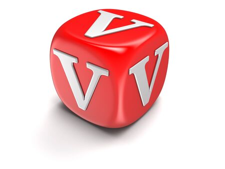 whitern: Dice with letter V (clipping path included)