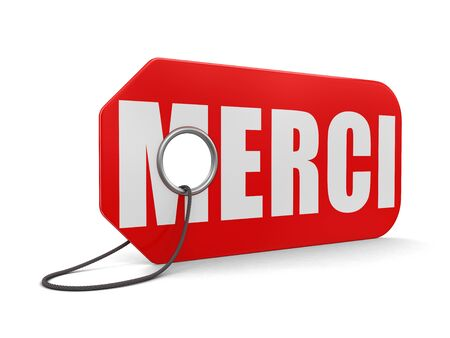 short phrase: Label merci (clipping path included) Stock Photo