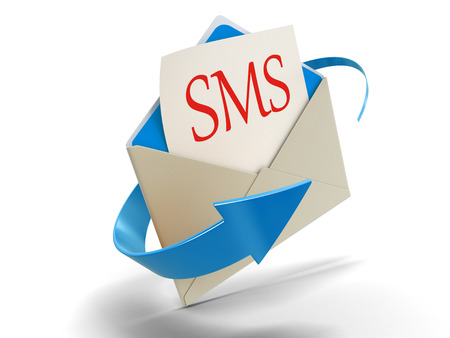 short message service: Letter SMS (clipping path included)