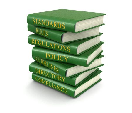 Stack of compliance and rules books  photo