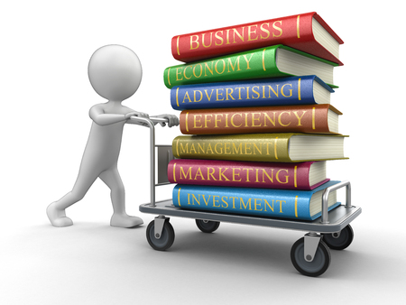 handtruck: Man and Handtruck with Business books (clipping path included) Stock Photo