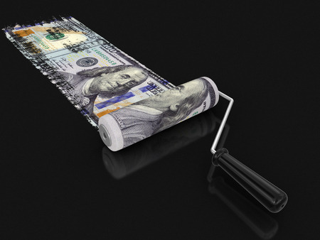 household objects equipment: Paint roller and dollar