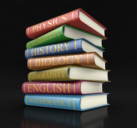 textbooks: Stack of textbooks (clipping path included) Stock Photo