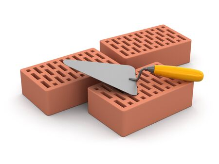home addition: Bricks and Trowel Stock Photo