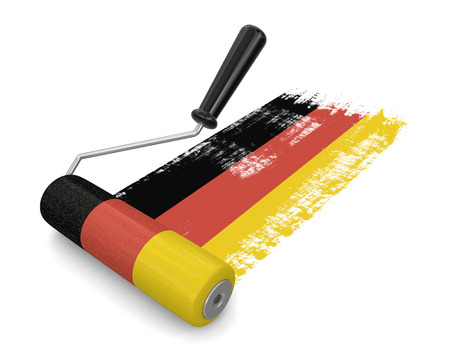 german flag: Paint roller with German flag (clipping path included) Stock Photo
