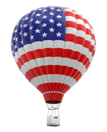 isolatedrn: Hot Air Balloon with USA Flag (clipping path included) Stock Photo