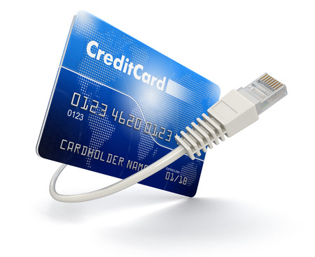 isolatedrn: Credit Card and Computer Cable (clipping path included) Stock Photo