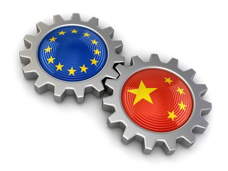 isolatedrn: Chinese and European union flags on a gears (clipping path included)
