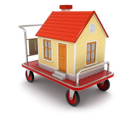 isolatedrn: House and Handtruck (clipping path included)