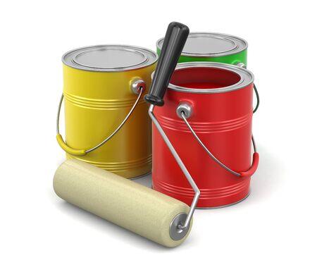 Rouleau de peinture et de boîtes de peinture (chemin de détourage inclus)