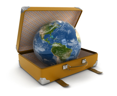 isolatedrn: Globe in suitcase (clipping path included)