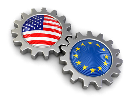 isolatedrn: USA and European union flags on a gears (clipping path included)