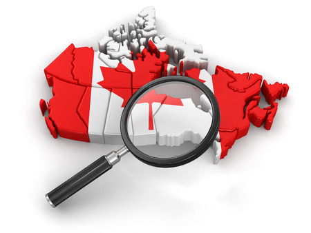 tool transparent white world: Map of Canada with loupe Stock Photo