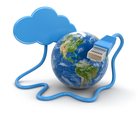rj 45: Cloud, Globe and computer cable