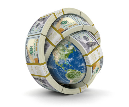 us paper currency: Pile of Dollars and globe Stock Photo