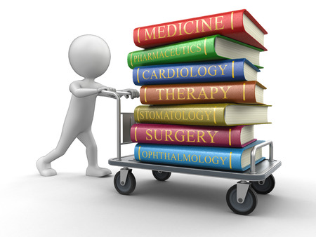 Man and Handtruck Medical textbooks