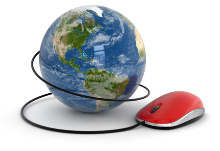 Globe and Computer Mouse (clipping path included) photo