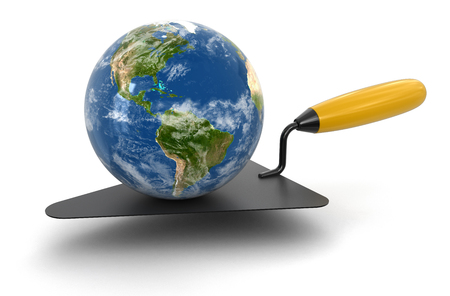 home addition: Globe and Trowel (clipping path included) Stock Photo