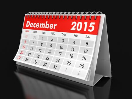 december: Calendar -  december 2015 (clipping path included) Stock Photo