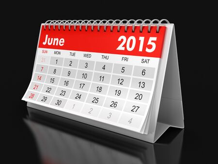 Calendar -  June 2015  (clipping path included) Reklamní fotografie - 38862971