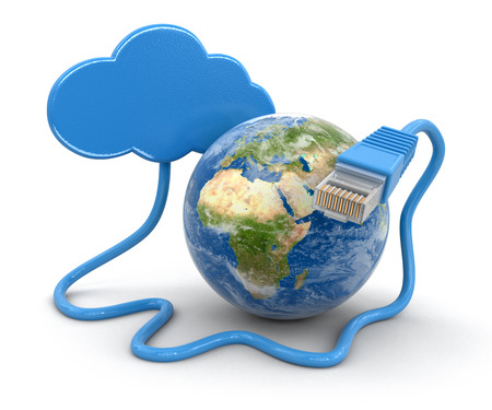 rj 45: Cloud, Globe and computer cable (clipping path included)