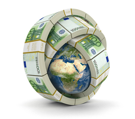 us paper currency: Pile of Dollars and globe (clipping path included)