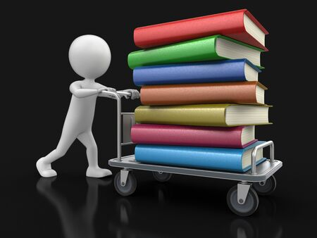 handtruck: Man and Handtruck with books Stock Photo