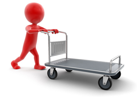 handtruck: Man and Handtruck (clipping path included) Stock Photo