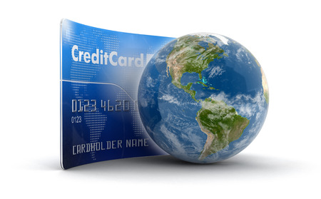 making earth: Credit Card and Globe (clipping path included)