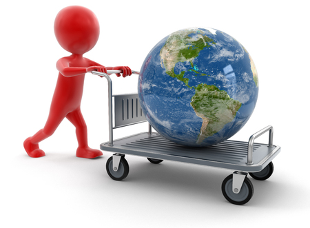 handtruck: Man and Handtruck with Globe (clipping path included) Stock Photo