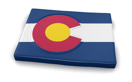colorado flag: Map of Colorado state with flag Stock Photo