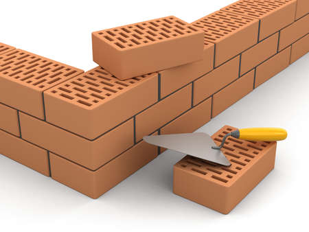 home addition: Bricks and Trowel. Stock Photo