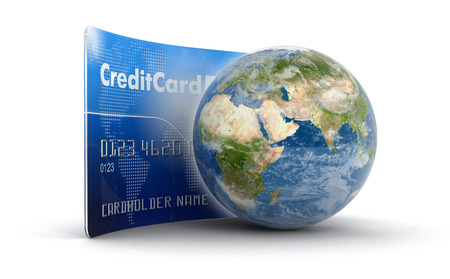 making earth: Credit Card and Globe . Stock Photo