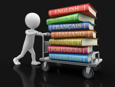 handtruck: Man and Handtruck with Stack of dictionaries