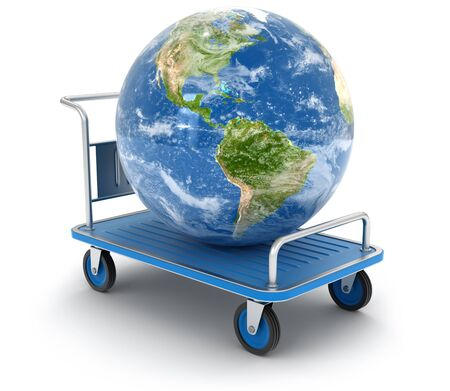 handtruck: Handtruck with Globe (clipping path included) Stock Photo