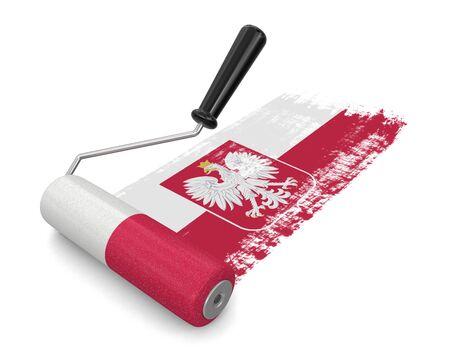 bandera de polonia: Rodillo de pintura con la bandera polaca (camino de recortes incluido) Foto de archivo