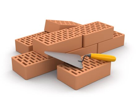 home addition: Bricks and Trowel (clipping path included)