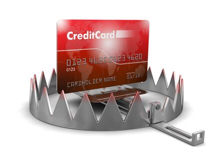 mantrap: Trap and Credit Card (clipping path included) Stock Photo