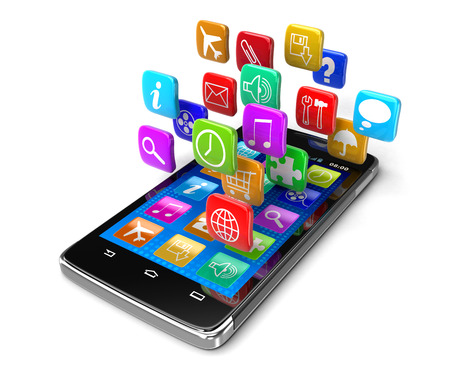 Touchscreen smartphone with pictograms (clipping path included) Stock Photo