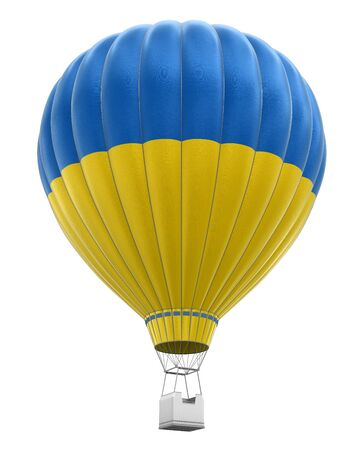 on air: Hot Air Balloon with Ukrainian Flag (clipping path included)