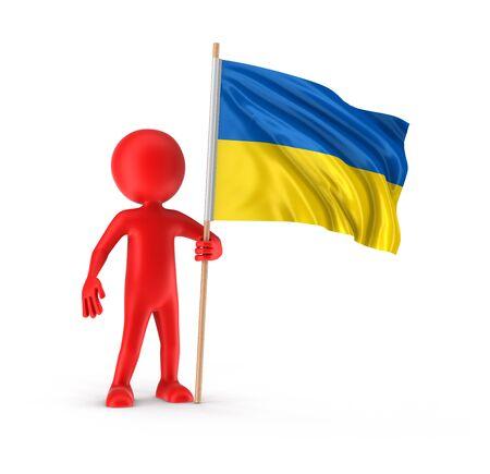 ukrainian flag: Man and Ukrainian flag (clipping path included) Stock Photo