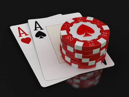 casino table: chips of casino and aces (clipping path included) Stock Photo