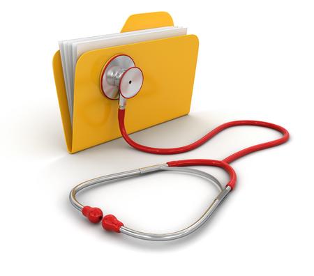 フォルダーと聴診器 (クリッピング パスを含める)