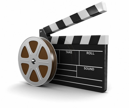 clapboard: Film Reel and Clapboard  Stock Photo