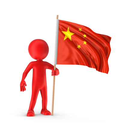 chinese flag: Man and Chinese flag