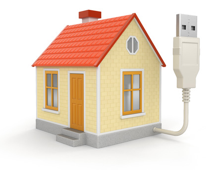 isolatedrn: House and USB Cable Stock Photo